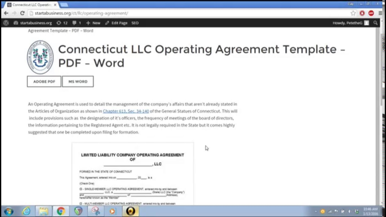 Free Connecticut LLC Operating Agreement Template PDF Word – Llc Operating Agreement