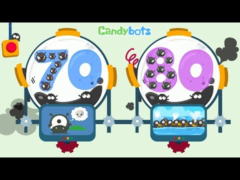 Candybots Numbers 123 - Learn counting 70 to 80 number - Education Apps for Kids