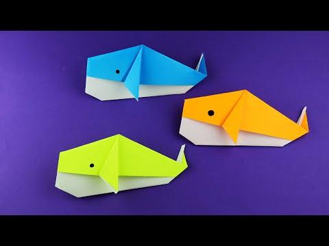 Как сделать кита из бумаги легко и просто. Очень простое оригами. Пошаговая сборка за 5 минут