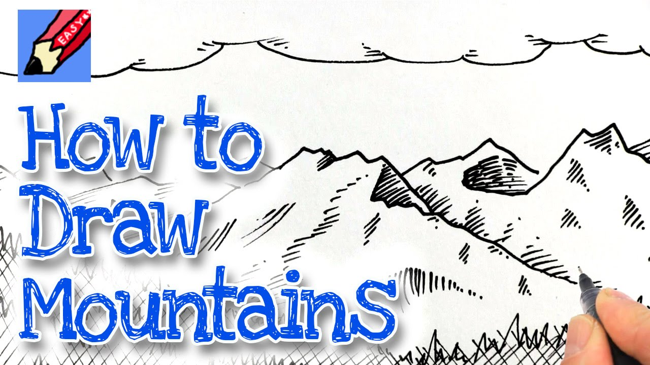 How To Draw Mountains Real Easy Youtube