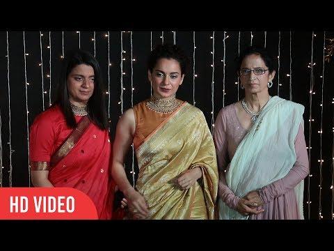 Kangana Ranaut with Mother and Sister at Priyanka-Nick Wedding Reception | Asha Ranaut, Rangoli
