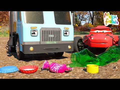 Learn About Recycling  With Toby The Garbage Truck And Race Cars   Adventures With Max And Friends!