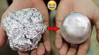 كيف تصنع كرة القصدير من الالمنيوم+أفكار   Mirror Polished Japanese Foil Ball