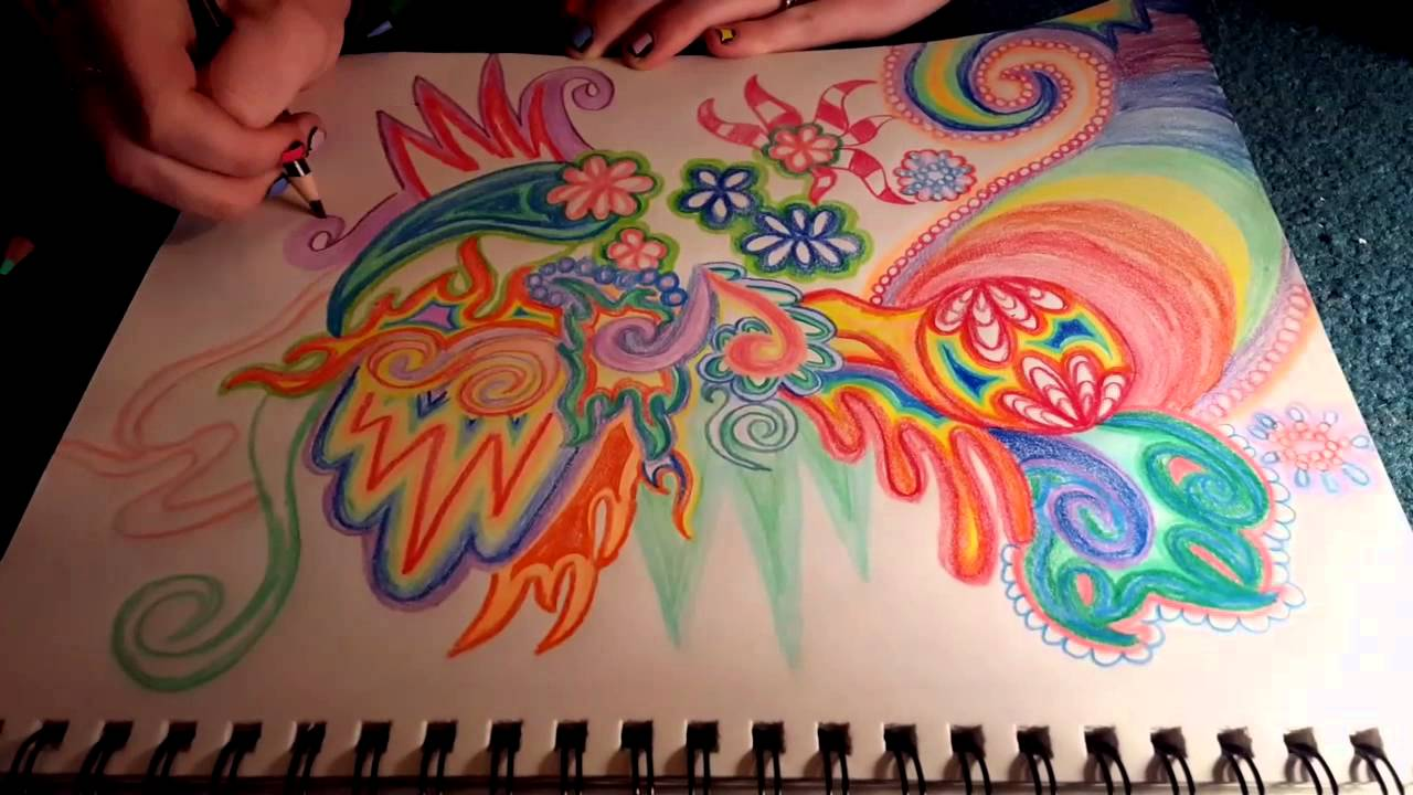 Abstract drawing with colored pencils youtube