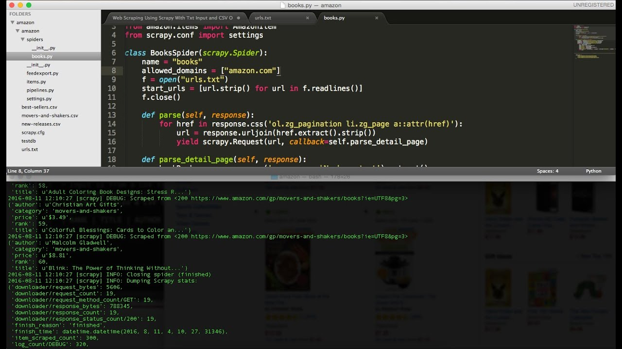 Web Scraping Using Python and Scrapy With Txt Input and CSV Output