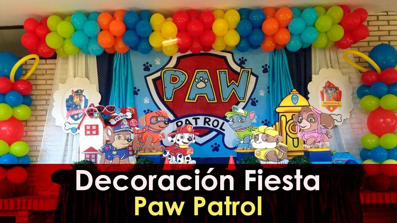 Decoraci n fiesta patrulla canina youtube - Decoracion de cumpleanos de la patrulla canina ...