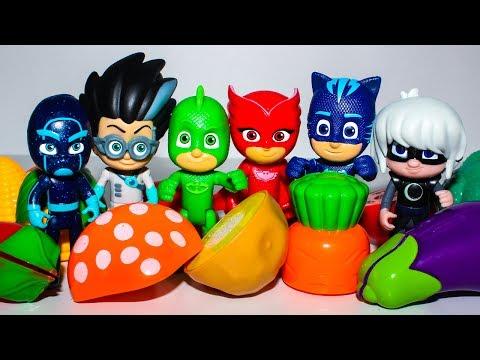Развивающие мультики Герои в масках новые серии Мультфильмы Изучаем овощи с Игрушки PJ Masks