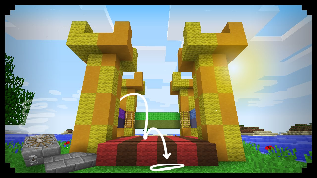 Minecraft How To Make A Working Bouncy Castle Youtube