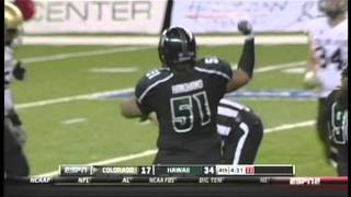 Geordon Hanohano sacks Tyler Hansen Colorado vs. Hawaii 2011