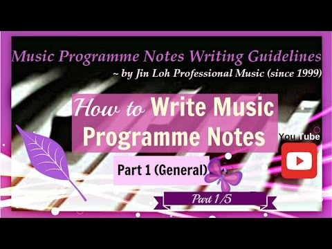 How to write music programme notes? Part 1/5