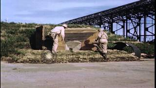 United States officers inspect pillbox in Japan. HD Stock Footage