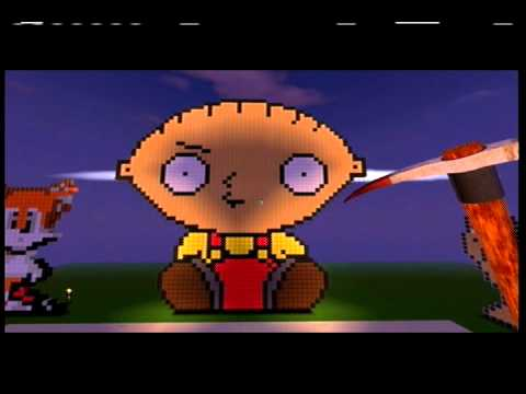 Fortresscraft Pixel Art Build 5 Stewie Griffin Youtube