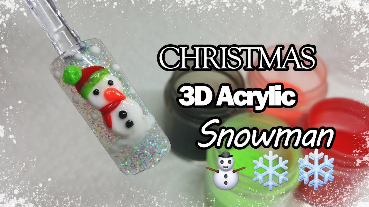 3d Nail Art Christmas Trees From: Acrylic Nails - YouTube