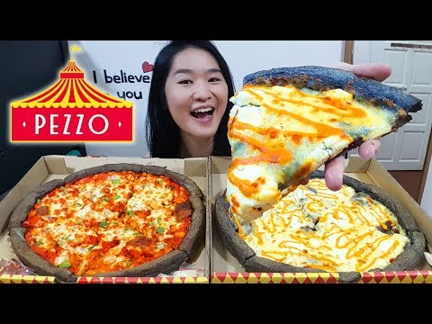 PIZZA! Creamy Carbonara Cheese & Tandoori Butter Chicken Charcoal Pizza Review | Mukbang Eating Show