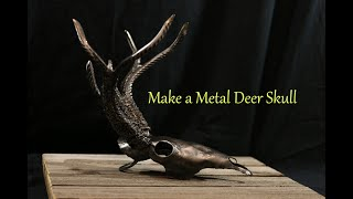 Metalworking Blacksmithing deer skull metal art forged from flat steel and rebar