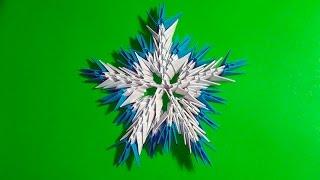 Модульное оригами снежинка для начинающих (Вариант 2)  видео урок-схема пошаговая инструкция