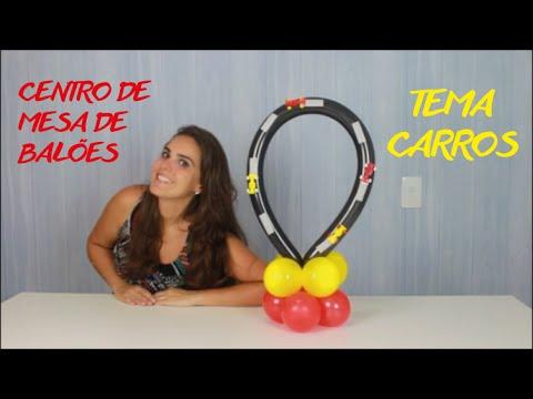 Centro De Mesa De Baloes No Tema Carros Youtube