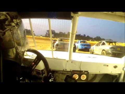 11 year old Jordan Fowler 8-23-14 heat race golden isles speedway in car cam 440