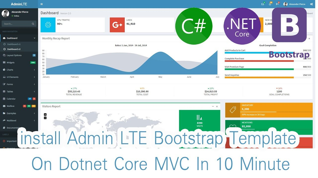 Part 01 Install Admin LTE Bootstrap Template for Dotnet Core MVC In ...