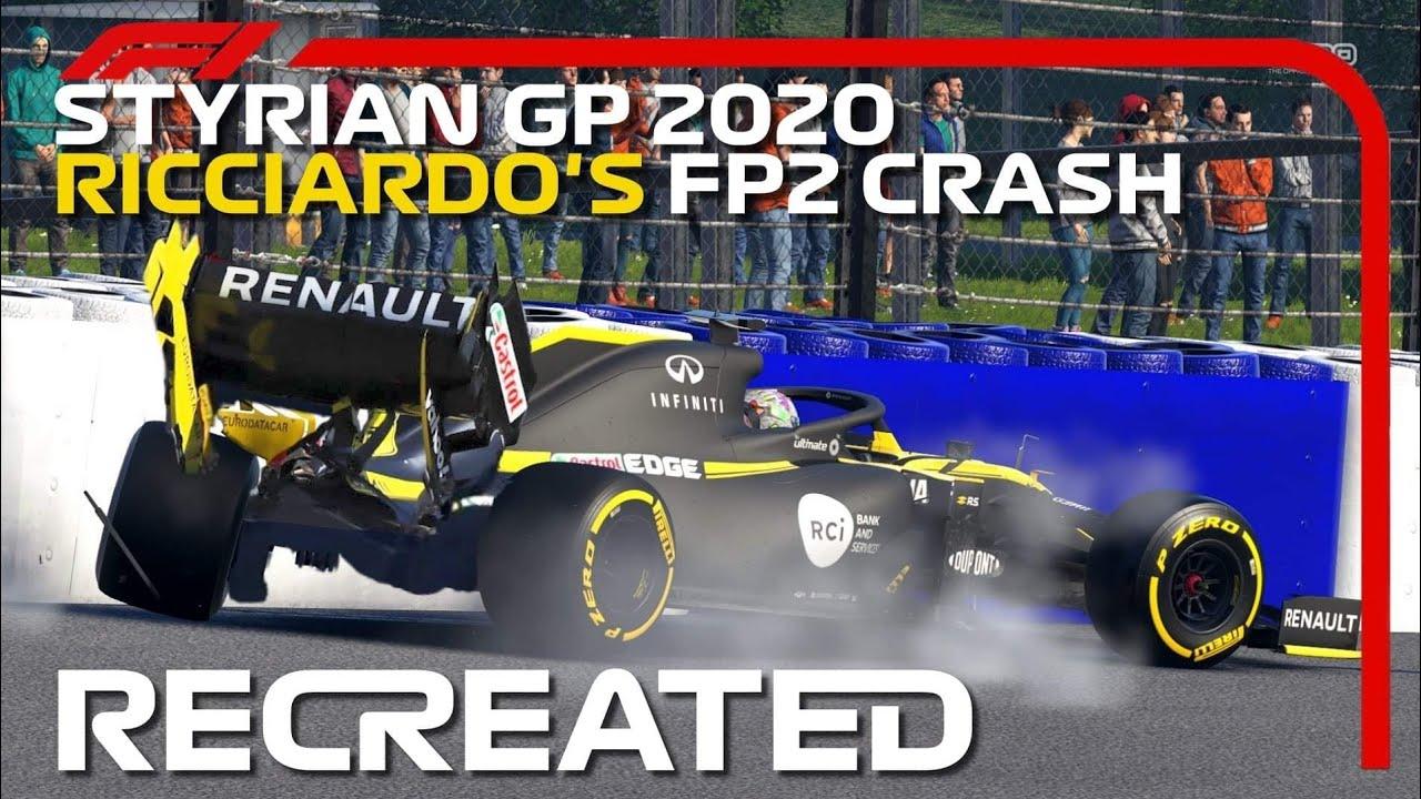 F1 2020 GAME: RECREATING DANIEL RICCIARDO'S STYRIAN GP FP2 CRASH