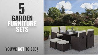 Top 10 Garden Furniture Sets [2018]: Rattan Cube Garden Furniture Set (8 seater, Brown)
