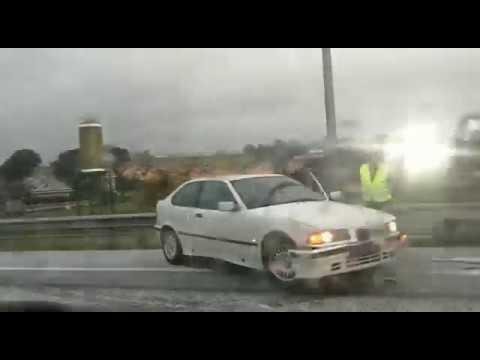 Accidente en la A-67 a la altura de Bezana a causa del Granizo