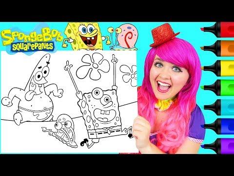 Coloring SpongeBob, Patrick & Gary Crayola Coloring Page Prismacolor Markers | KiMMi THE CLOWN