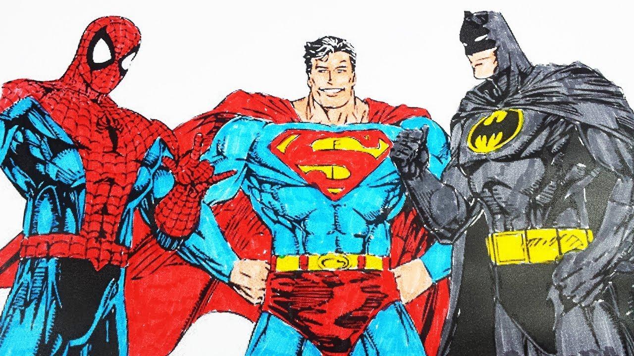 Coloring Pages Spiderman Superman Batman Spiderman Coloring Videos Superheroes Coloring Book 2018