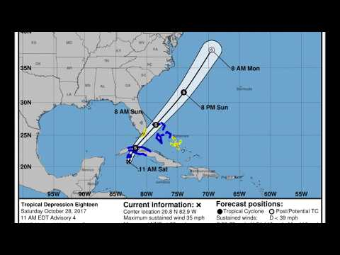 Tropical Storm Philippe [18L] (2017) NHC Official Forecast Cone Advisories.