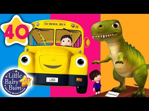 Dinosaur on The Bus | Wheels on The Bus + More Nursery Rhymes & Kids Songs | Little Baby Bum