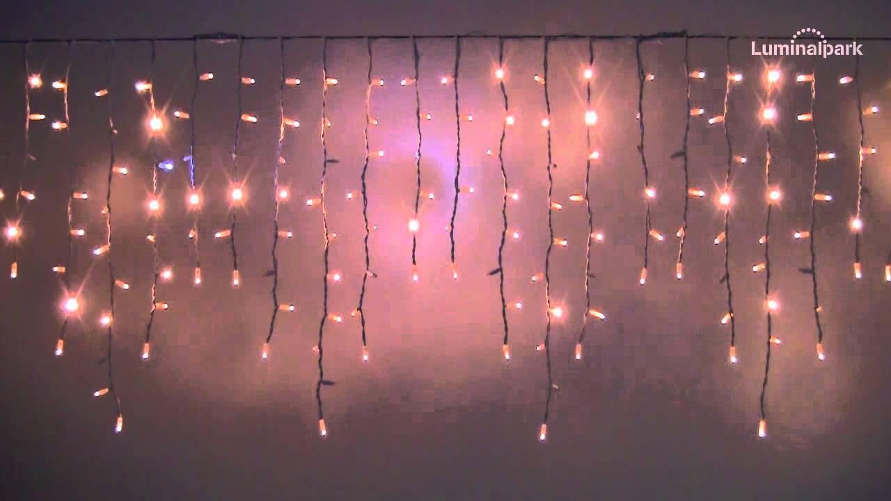 Eisregen-Lichterkette 3 x 0,9 m, 228 Maxi LEDs warmweiß, weißes ...