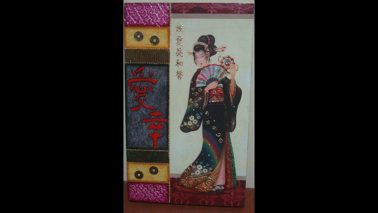 Manualidades cuadro japonesa con texturas by taller - Manualidades con cuadros ...