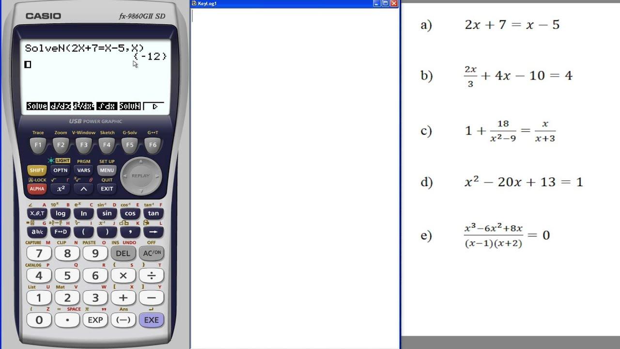 Casio fx-9860 Gleichungen lösen - YouTube