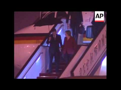 German Chancellor Angela Merkel arrives in China
