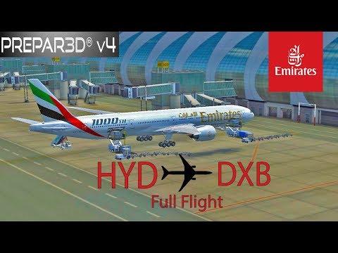 P3DV4.1 Emirates B777-300ER Hyderabad to Dubai Full Flight