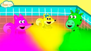 The Fox Family and Friends | Swimming in Rainbow Waterpool | Cartoon for kids new funny season #812