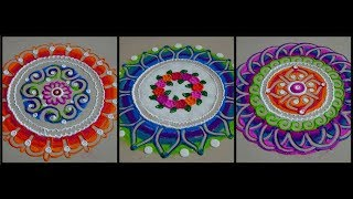 3 instant rangoli designs using finger technique | Rangoli for beginners