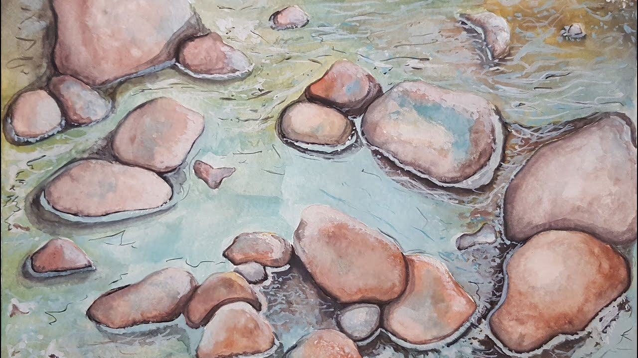 Watercolor Rocks In Water Painting