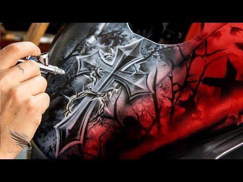 Airbrush Mortorcycle Golgotha Jesus I Need You Now / Rafa Fonseca