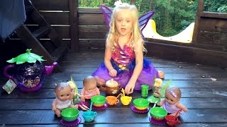 Lil Cutesies On Pirate Ship Playground Park and Tinker Bell Pirate Fairy Tea Party W/ Play Doh Girl