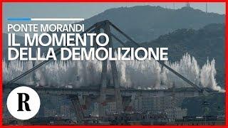 Ponte Morandi, il momento della demolizione ripreso da tutte le angolazioni