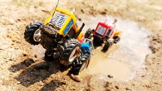 Tractor HMT Stuck in The Mud and Rescue by Eicher And Swaraj 744 Tractor Toy Power || Ji boom baa ||