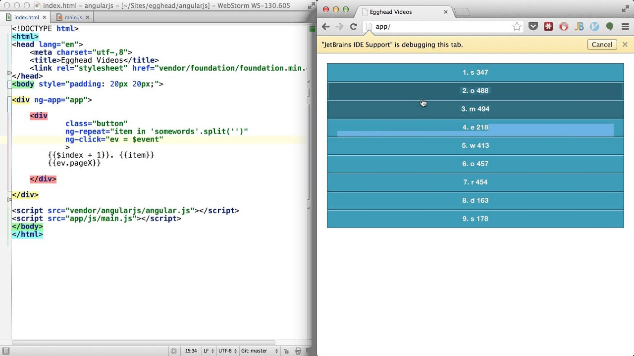 AngularJS - $index, $event, $log - Thinkster