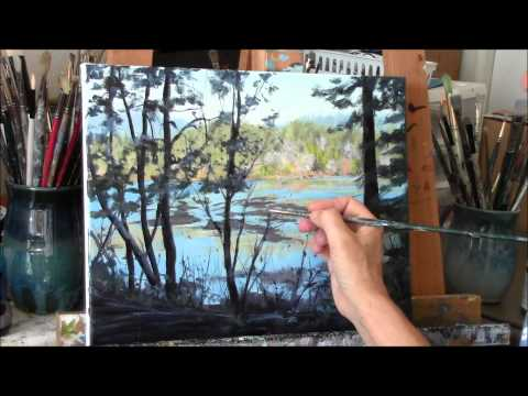 "Acrylic River and Trees Landscape Painting Demo – ""Reflecting"" Part 3"