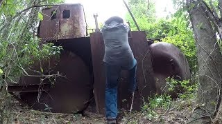 Crazy Find! River Sand Dredger Found Rusting In Woods! Abandoned Heavy Machinery!