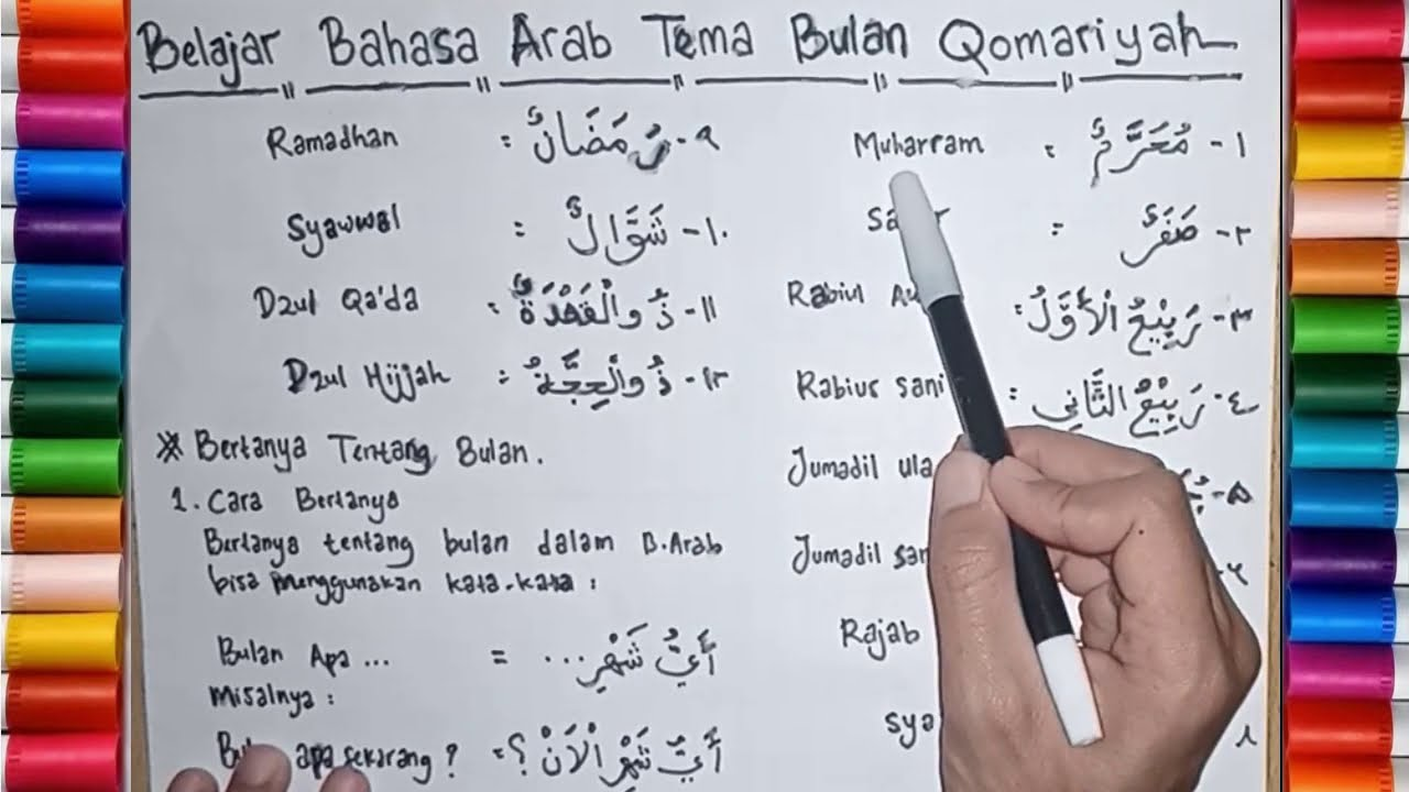 Belajar Bahasa Arab Tema Nama   Nama Bulan Hijriyah Bulan Qomariyah dalam  Bahasa Arab