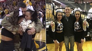 Military Dad Surprises His Twin Cheerleader Daughters at College Basketball Game thumbnail
