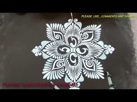 SIMPLE ALPONA DESIGNS/CREATIVE ALPANA DESIGNS WITH BRUSH EFFECTS/HOW TO DRAW ALPONA DESIGNS