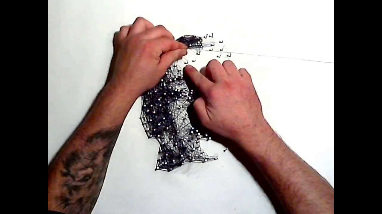 art with nails and thread - portrait