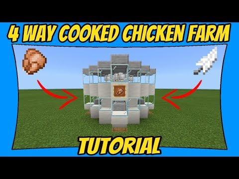 Automatic Chicken Farm Tutorial | 4 Way [Minecraft Bedrock Edition] [MCPE]